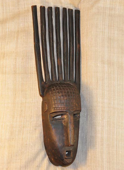 African Bambara Mask and African Sculptures