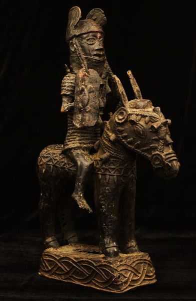 African Benin Bronze Mounted Warrior 20, Right Angle