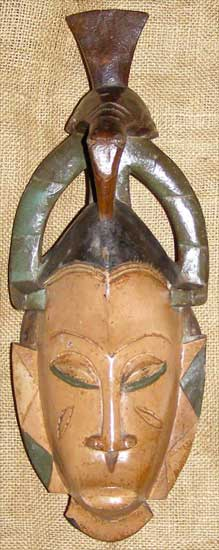 Africian Mask from the Guro Tribe of Ivory Coast