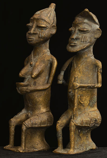 African Igbo Bronze Elders 31, Left Angle