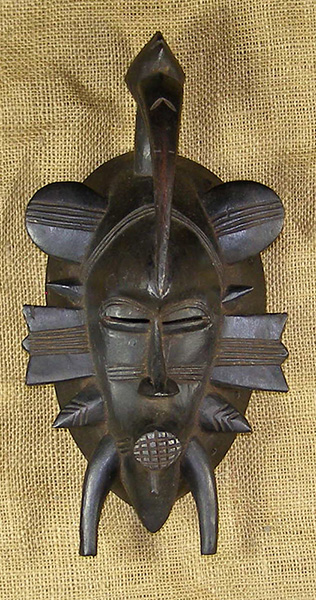 African Mask from the Senufo Tribe of Ivory Coast, Mali, and Burkina Faso