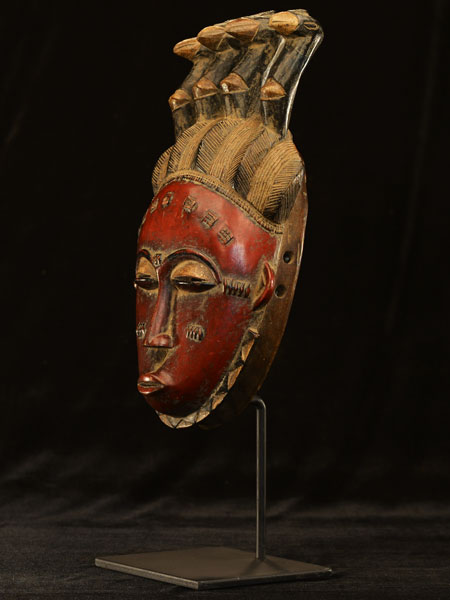 African Yaure Mask With Stand 39, Left Angle