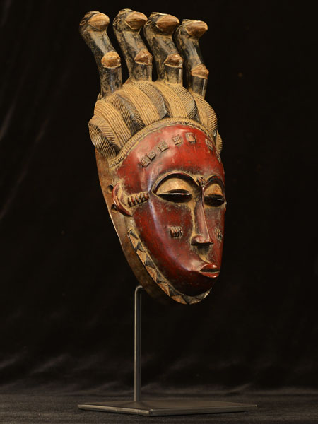 African Yaure Mask With Stand 39, Right Angle